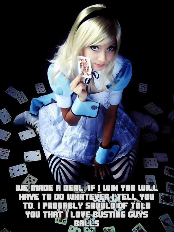 Alice in Wonderland Ball Busting ~ Cosplay Femdom