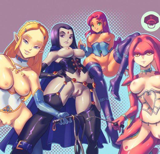 Zelda x Raven x Starfire x Mipha ~ Legend of Zelda/DC ~ By SuperSatanSon