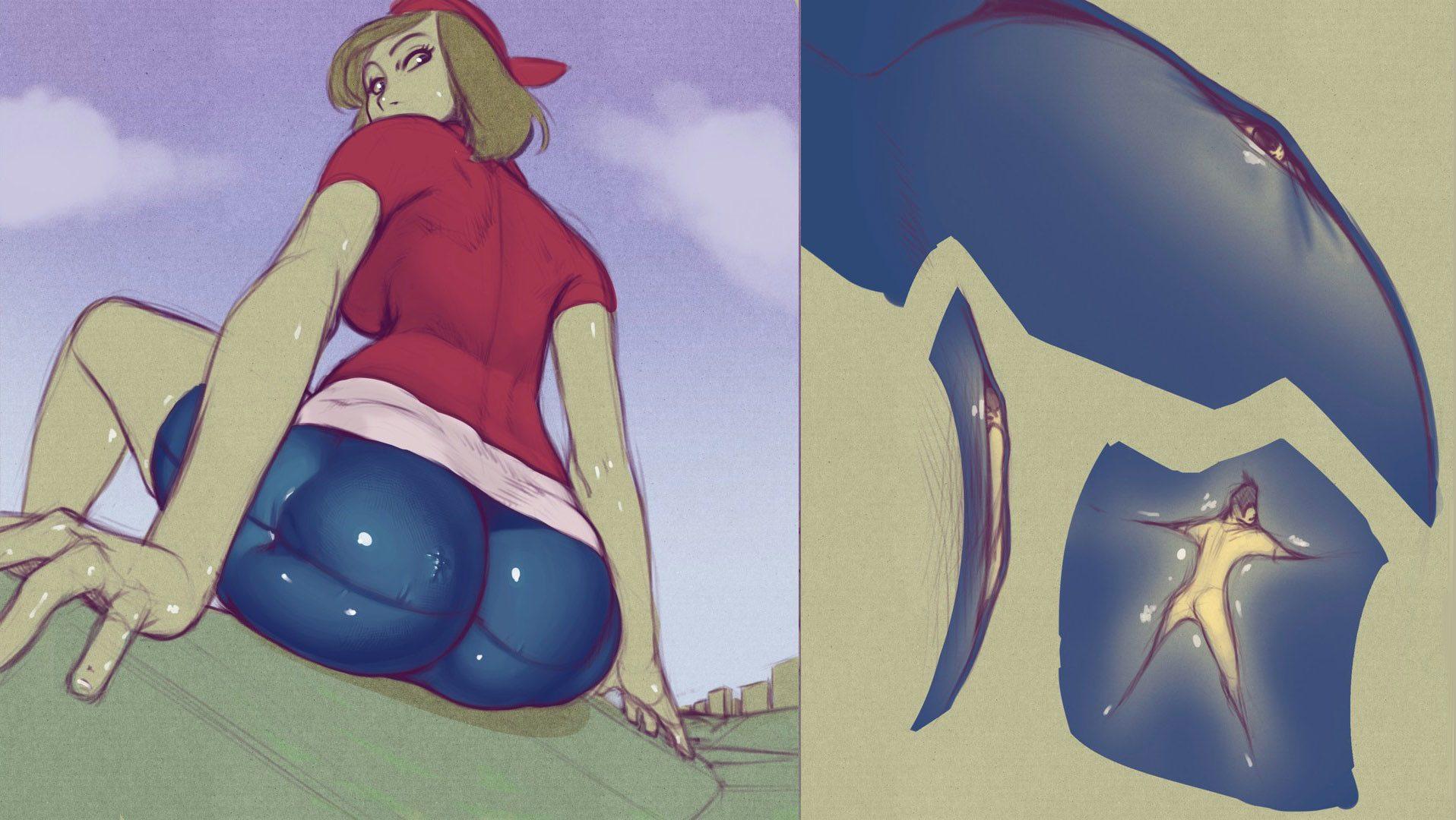 Furry pokemon giantess butt crush