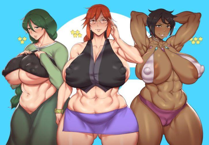 Muscle Cheryl x Lorelei x Olivia ~ Pokemon Masters ~ By NatedeCock